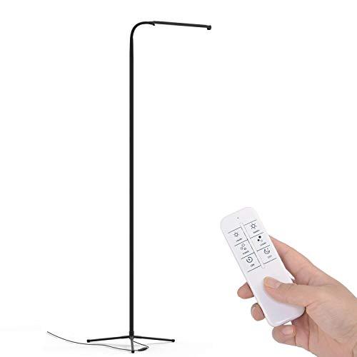 Touch LED Stehlampe Lesung für Wohnzimmer Schlafzimmer mit Fernbedienung 12 Stufen Dimmbar 3000k-6000K Schwarz