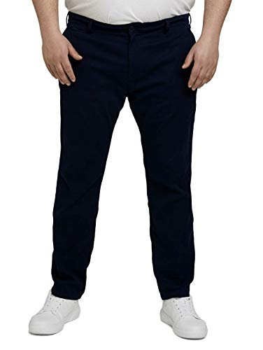 TOM TAILOR Men+ Herren 1026649 Plussize Structure Slim Chino Hose, 10302-Dark Blue, 44W / 34L