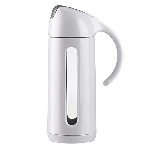 Junnom Glas Cruet, 320ml Edelstahl Ölspender Sichtbarer Glasflasche Essig-Flaschen Öl Dispenser mit automatischem Deckel für Sojasauce, Olivenöl, Essig, Honig, Wein Kochen, Salatdressing