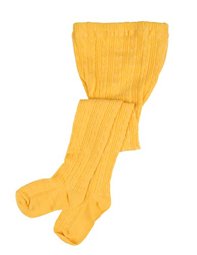 Leveret Girls Knit Cable Tights Yellow Size 2-4 Toddler
