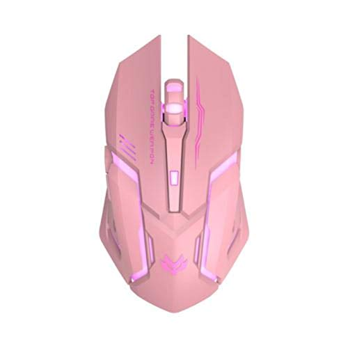 N\C T1 Ergonomic2.4 G Rechargeable Silent Backlit U S B Optical Wireless Gaming Mouse6 Keys Gaming Mouse Surfing The Mouse Pink Black