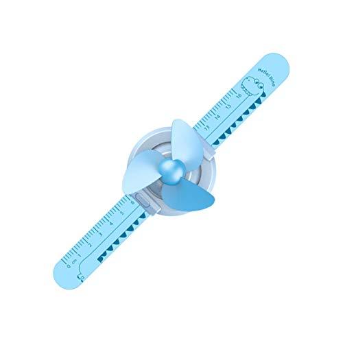 Yosemite USB Fan Cartoon Ruler Watch En Forma De USB Carga Pequeño Ventilador Con 3 Velocidad 300mAh Estudiante Niños Regalo De Cumpleaños - Azul