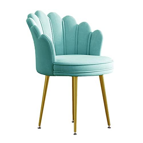 Samtstuhl für Wohnzimmer, Schminkstuhl für Schlafzimmer, moderner gepolsterter Freizeitsessel für Esszimmer, Mid Century Akzentstuhl mit goldenen Metallbeinen,Light Green