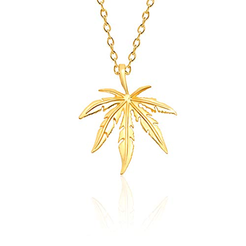 CSIYANJRY99 Maple Marijuana Cannabis Leaf Pendant Necklace for Women Girls,Leaf Sweater Chain Necklace Christmas Party Gifts (A Gold)
