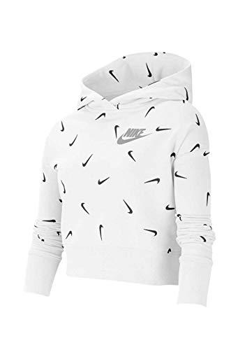 Nike G NSW AOP Crop Ft Hoodie Langarmshirt für Mädchen M Weiß/Schwarz/Hellgrau (White/Black/Lt Smoke Grey)