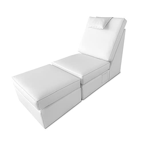 DUÉRMETE ONLINE Sillón con Chaise Longue Tapizado en Poilipiel, Modelo Loft, Alto Confort, Práctico y Funcional, Polipiel, Blanco, Individual