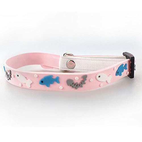 qianger Das verstellbare Hundehalsband besteht aus weichem PVC, ist wasserdicht und langlebig, mit Einer Glocke und für mittlere und große Hunde geeignet-Rosa_1 * 30 cm