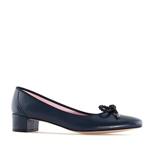 Andres Machado - Elegante Ballerinas für Damen/Mädchen - Lucia – Bequeme Loafer aus Leder mit Absatz – Made in Spain - in Marineblau, EU 43