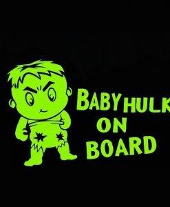 myrockshirt Pegatinas Baby Hulk on Board 17 cm Auto Adhesivo Barniz Luna Trasera Baby Bord de Alto Rendimiento Pantalla sin Fondo Calidad Profesional Muchos Colores a Elegir Fabricado en Alemania