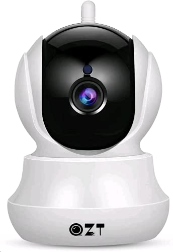 Cámara IP, Cámara de Vigilancia QZT 1080P WiFi con Visión Nocturna, Audio Bidireccional, Giro/Inclinación, Detección de Movimiento, Alarma Email, Cámara de Seguridad