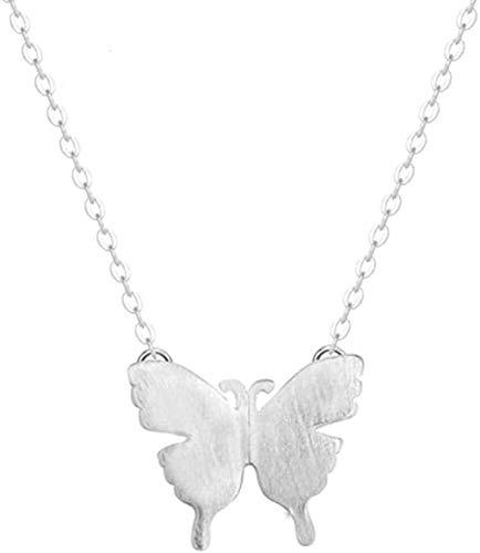 LKLFC Collar Joyas de Plata Mariposa cepillada Cadena de clavícula Antialérgico Hermoso Collares Pendientes exquisitos Collar Colgante Regalo para Mujeres Hombres Niñas Niños