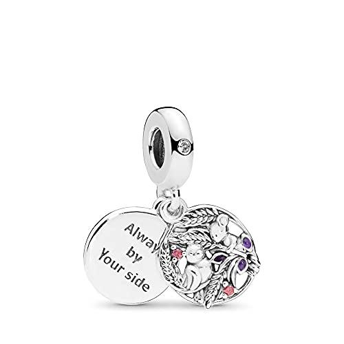 MiniJewelry Abalorio de plata de ley con diseño de pájaro y ratón, ideal para pulseras, amigas y hermanas