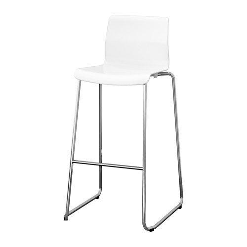 Ikea Glenn Barhocker in weiß; verchromt; stapelbar; (77cm)