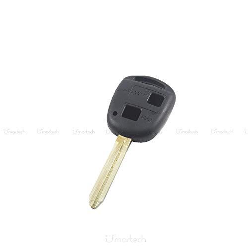 1neiSmartech Scocca Guscio Cover Telecomando 2 Tasti Ricambio Compatibile Per Auto Toyota Corolla Rav4 Celica Chiave Completa di Guscio E Lama