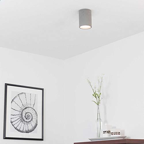 Betonlampe SHY aus Beton in Grau Zylinder Modern H:12cm Loft Wohnzimmer Flur Deckenleuchte Strahler