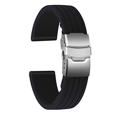 ULLCHRO Unisex Kautschuk Armband mit Edelstahl Silber Faltschließe 20mm Schwarz