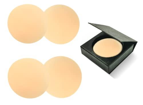 LeniLena Ultra dünne Damen Selbstklebende Nippel Covers aus umweltfreundlichem und weichem Silikon, 2 Paare & Elegante Schwarze Schachtel, Wiederverwendbar Nippel Abdeckungen, Helle Haut, Rund, 8cm