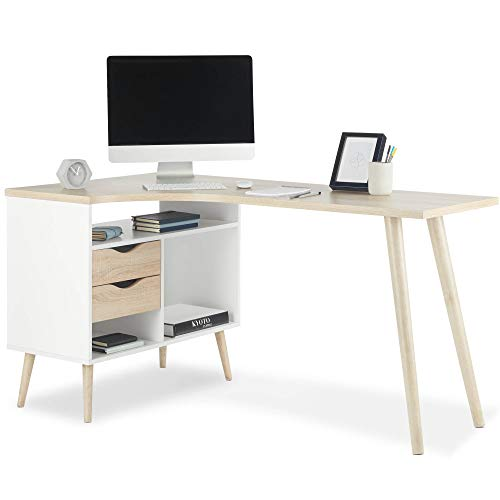 VonHaus L-Shaped Computer Desk - White and Light Oak Effect with Tapered Legs Corner Workstation - Scandinavian Nordic Style - Modern, Contemporary Home Office Furniture