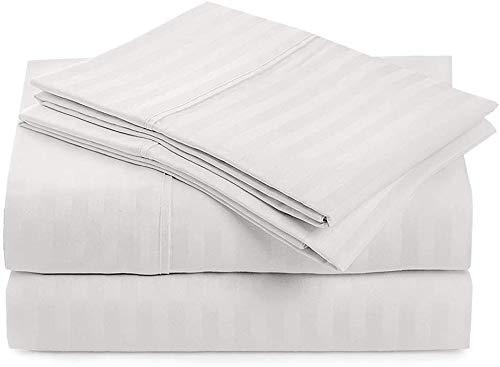 Juego de sábanas de 4 piezas, 100% algodón egipcio de 400 hilos, algodón peinado de fibras largas para cama, transpirable, suave y sedoso, se adapta a colchones de 30 cm, rayas blancas, tamaño King