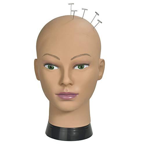 RSM Cabeza de maniquí de entrenamiento femenino calvo para hacer pelucas y exhibición con abrazadera gratis