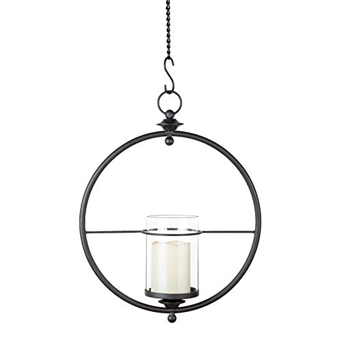 Danya B. Decorative Indoor/Outdoor Candle Holder - Round Wrought Iron Hanging Wall Sconce with Glass Hurricane for Pillar Candles
