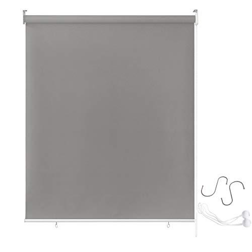 Aufun Außenrollo Balkon Outdoor Rollo Wetterfest 180 x 240 cm Outdoorrollo Sonnenschutz Balkonrollo UV Schutz, Reflektierende Thermofunktion für Fenster & Türen, Grau