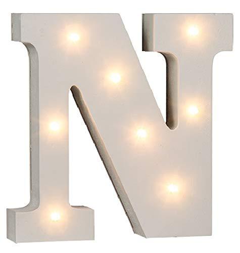 LED Buchstaben Alphabet Beleuchtet Buchstaben A bis Z und & Zeichen wählbar Holz weiß lackiert Batteriebetrieben (LED Buchstabe N)