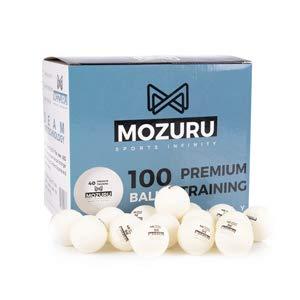 MOZURU Pelotas de Ping Pong Pack 100 Unidades, 100 Pelotas de Tenis de Mesa, Premium Training 40+, Pelotas de plástico Blancas, Material ABS con Costura