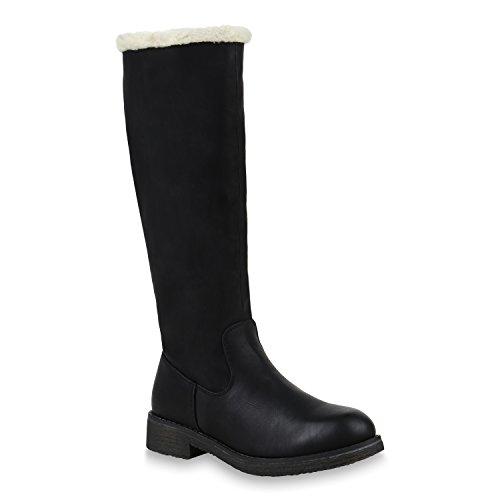 Klassische Damen Stiefel Warm Gefütterte Boots Winter Schuhe 153707 Schwarz Weiss 38 Flandell