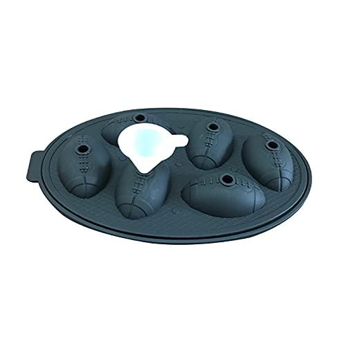 Bandejas de cubitos de hielo de rugby con tapas 5, molde para fabricar bolas de hielo de silicona para cerveza, fácil liberación, bandejas de cubitos de hielo apilables para congelador, reutilizable y