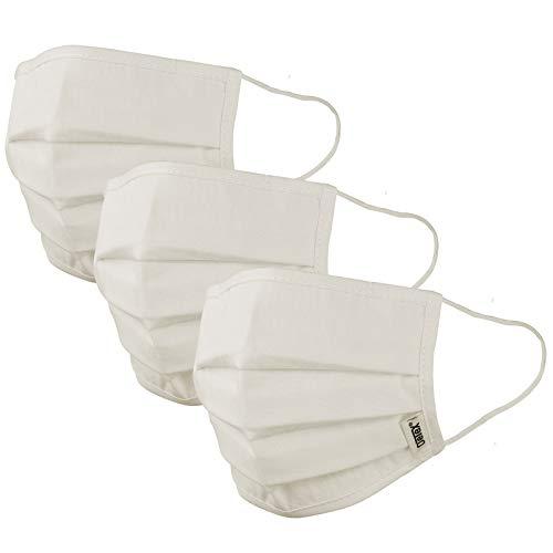Mund-Nasen-Maske 3er Set Gesichtsmaske Behelfsmaske Baumwolle Stoffmaske wiederverwendbar Maske waschbar creme