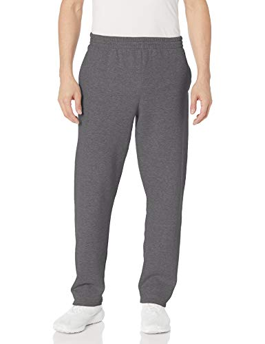 Fruit of the Loom Mens Open-Bottom Pocket Sweatpants (SF74R) -Charcoal H -M