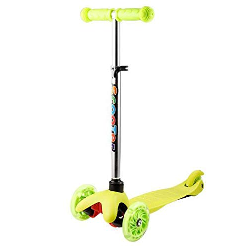 Pixier Mini Kick Scooter Detachable 4 Wheel Scooters Adjustable Height with Light Up Wheels for Kids Girls Boys Toddler, Ages 3-13years / Green