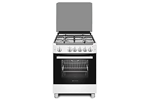 EAS ELECTRIC SMART TECHNOLOGY | EFG660W | Cocina de gas Blanca | Color Blanco | 60 cm | Gas butano y gas natural | Autoencendido | Horno de 63 litros | Tapa de cristal y aluminio | 4 fuegos