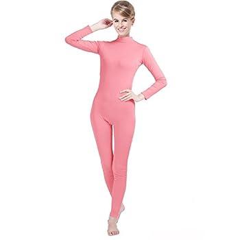 QY Zentai Spendex Long Sleeve Bodysuit One Piece Unitard Stretch Turtleneck Full Body Suit Leotard Pink