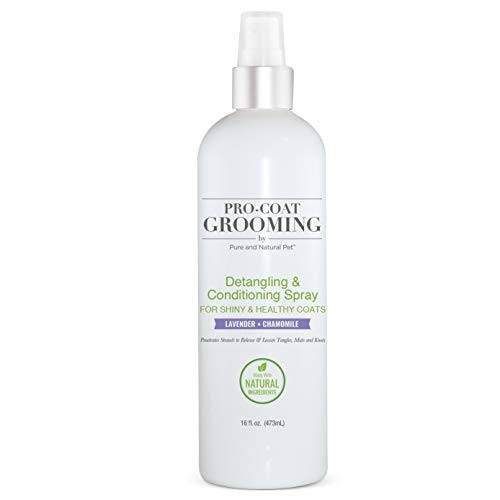 Pro-Coat Grooming - Detangling & Conditioning Spray (Lavender & Chamomile) - 16 oz, Clear