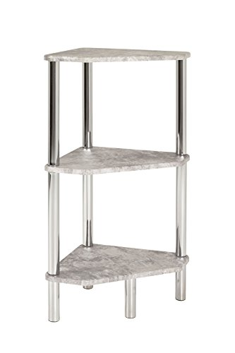 Regal, Eckregal, Badreal aus MDF und Stahl in Betonoptik-chrom; Maße (B/T/H) in cm: 46 x 32 x 77