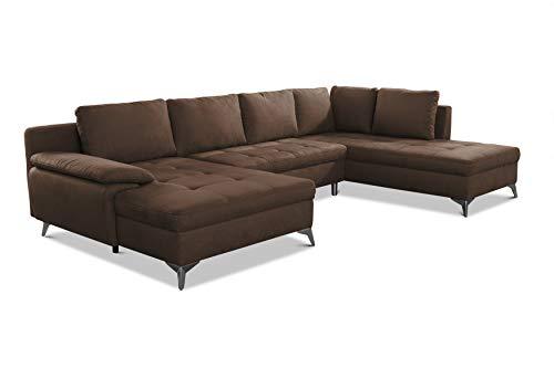 CAVADORE Wohnlandschaft Lina U-Form Sofa mit Schlaffunktion, Bettkasten und Steppung im Sitz / 326 x 85 x 201 / Mikrofaser: Braun