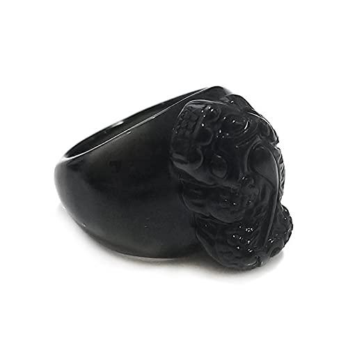 Shumu Anillo de obsidiana Pixiu vintage de buena suerte para atraer riqueza, regalo personalizado para hombres y mujeres