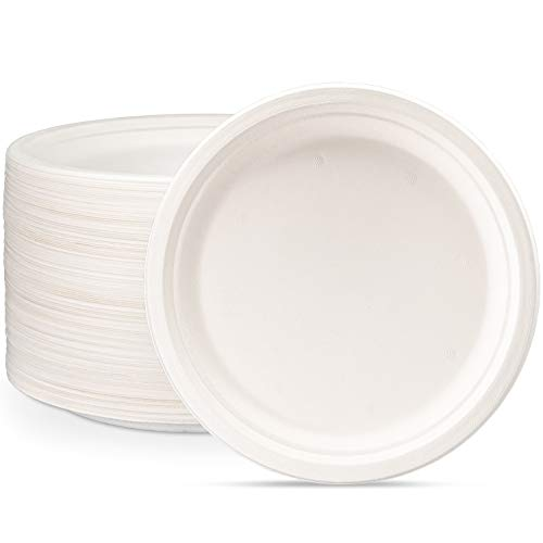 100% Compostable 10 Inch Heavy-Duty Plates [125 Pack] Eco-Friendly Disposable Sugarcane Paper Plates