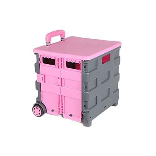 genneric 25kg Nueva plástico Plegable Carrito de la Compra Cesta de Arranque Ligero -Wheeled Caja de almacenaje Plegable con Mango de Aluminio (Color : Pink)