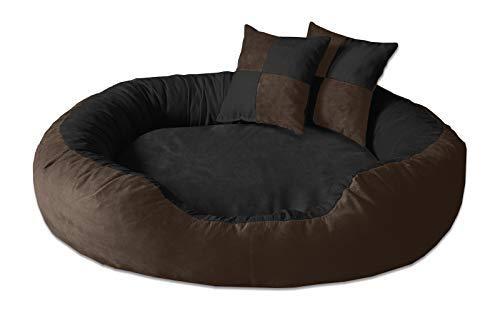 BedDog® Hundebett PRINS, großes Hundekörbchen aus Microfaser-Velours, waschbares Hundebett mit Rand, Hundekissen oval-rund, für drinnen, draußen, XL, Mocca-D, braun-schwarz