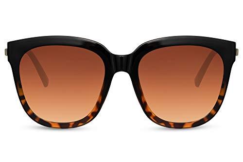 Cheapass Sunglasses - Gafas de sol para mujer, con montura de gran tamaño, de negro a leopardo, con lentes marrones degradados con protección UV400