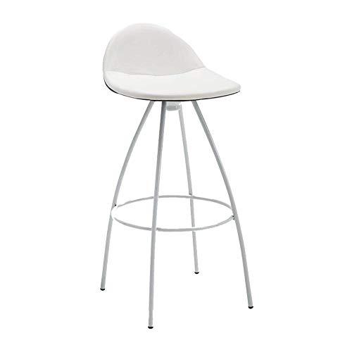 Moderne minimalistische barkruk van PU-leer, met rugleuning en voetensteun, vrijetijdsbarkruk, keuze uit verschillende kleuren wit