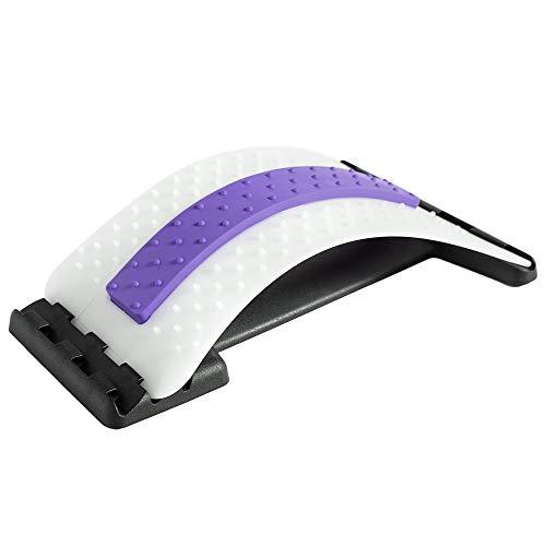Rückenstrecker Rückendehner Back Stretcher, für Unter und Ober Lendenwirbelsäule Rückenschmerzen Linderung Wirbelsäulenstrecker Massagegerät Fitness Stretch (38.5x25.5x11cm, Lila + weiß)