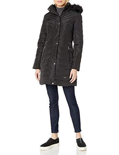 Kenneth Cole New York Women's Quilted Puffer Jacket with Faux Fur Trimmed Hood, Black, Medium