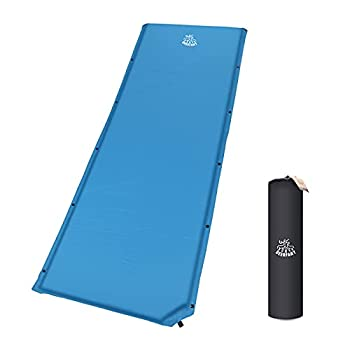 DEERFAMY 25 Inch Wider Self Inflating Sleeping Pad Connectable Camping Mat 4 R-Value for Side Sleeper for Camping Family Get-Together Weekend Sleepovers Blue