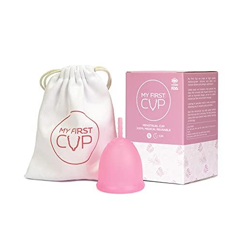 MY FIRST CUP - Copa Menstrual - Talla S - Silicona 100% grado médico, testada - recomendada para principiantes.
