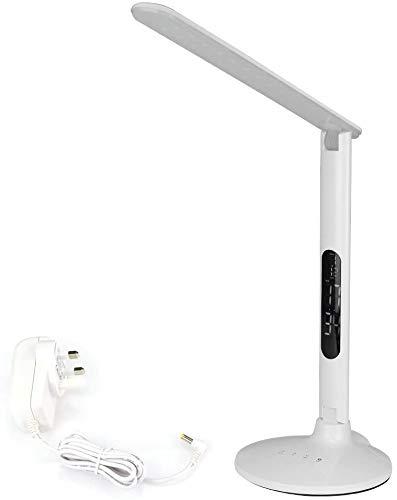 BW DC12V larga vida útil LED regulable lámpara de escritorio de protección de ojos, ajustable, giratoria, 3 colores y 5 palancas de brillo, pantalla LCD, puerto de carga USB