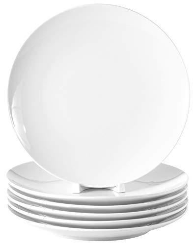 6 Stück Flache Coupteller im Set aus echtem Porzellan 200 mm Salatteller Dessertteller Frühstücksteller weiß auch zum Bemalen bestens geeignet Tafelgeschirr für Gastronomie und Haushalt